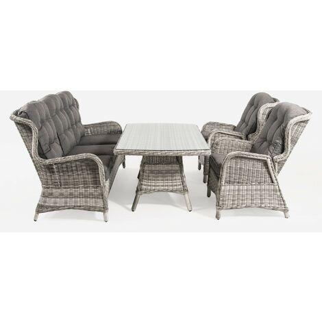Conjunto sofás de jardín | Mesa centro 140 cm | 2 butacas y 1 sofá 3 plazas |