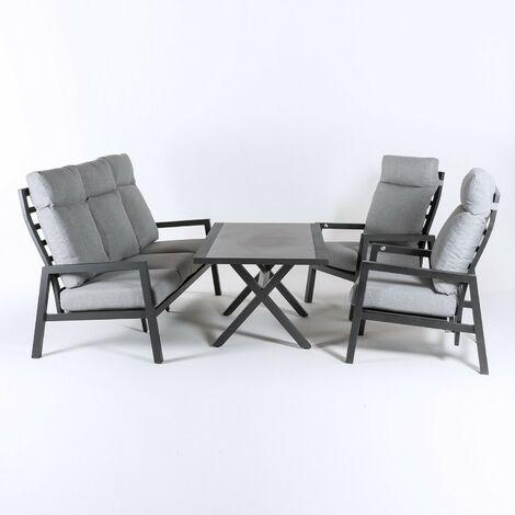 Conjunto sofás exterior, Aluminio reforzado color antracita, Sofá 3 plazas + 2 sillones reclinables + Mesita café, 5 plazas, Cojines color gris