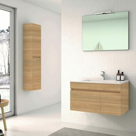 Conjunto SOKI, Mueble de lavabo 80cm , espejo, aplique led y columna