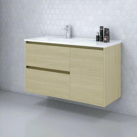 Conjunto TAGUS, Mueble de lavabo 100cm, espejo y columna