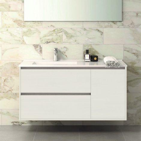Conjunto TAGUS, Mueble de lavabo 120cm, espejo, aplique led y columna