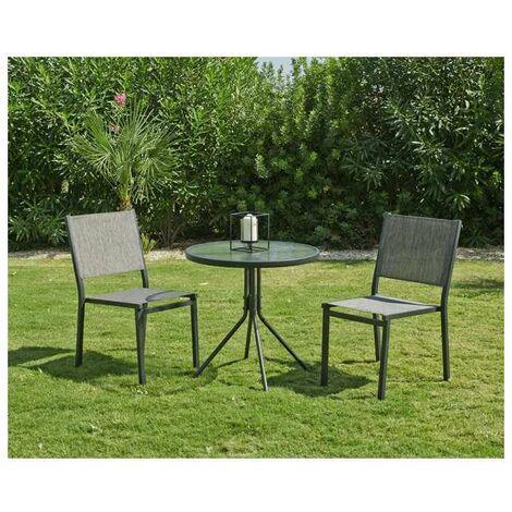 Conjunto terraza jardín mesa+ 2 sillas acero Calcuta-70 en acabado gris