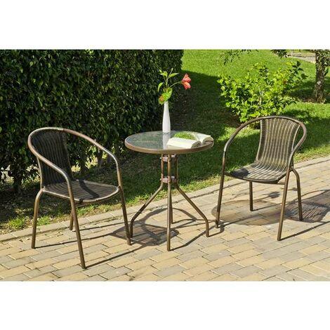 Conjunto terraza jardín mesa + 2 sillones acero Brasil-60 en acabado color bronce