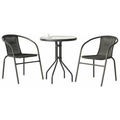 Conjunto terraza jardín mesa + 2 sillones acero Santana-60 en acabado antracita