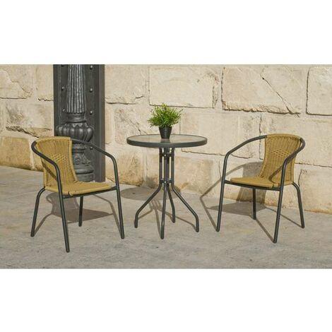Conjunto terraza jardín mesa + 2 sillones acero Valencia-60 en acabado antracita
