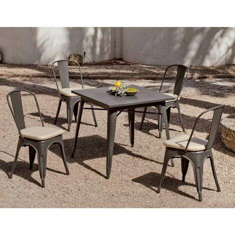 Conjunto terraza jardín mesa + 4 sillones acero Ancona-808/4 en acabado gris Color Gris