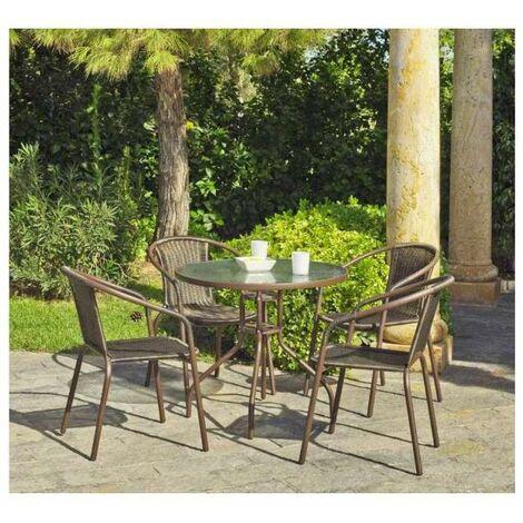 Conjunto terraza jardín mesa + 4 sillones acero Brasil-90/4 en acabado color bronce Color Bronce