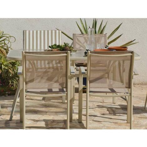 Conjunto terraza jardín mesa + 4 sillones acero Castilla-150/4 en acabado champagne Color Champagne