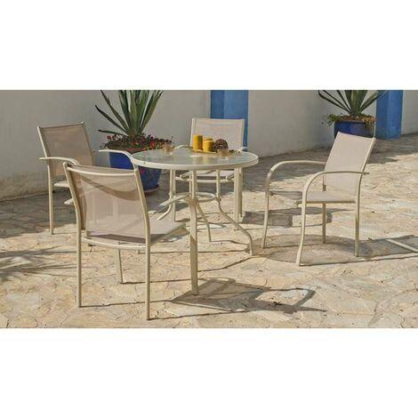 Conjunto terraza jardín mesa+ 4 sillones acero Castilla-90 en acabado beige