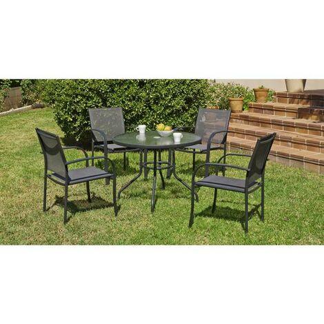 Conjunto terraza jardín mesa + 4 sillones acero Europa-90 en acabado gris