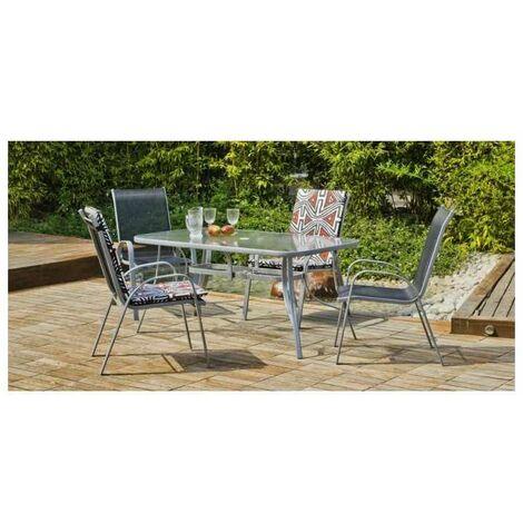 Conjunto terraza jardín mesa + 4 sillones Acero Seul-150 en acabado color plata
