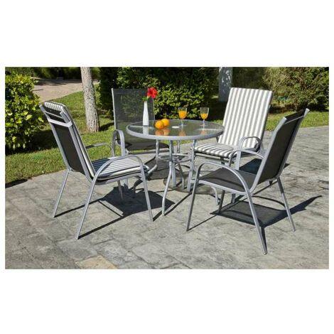 Conjunto terraza jardín mesa + 4 sillones Acero Seul-90/4 en acabado color plata Color Plata
