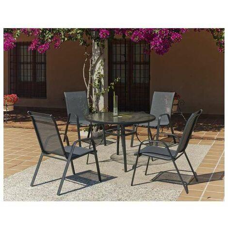 Conjunto terraza jardín mesa + 4 sillones acero Sulam-105 en acabado gris antracita
