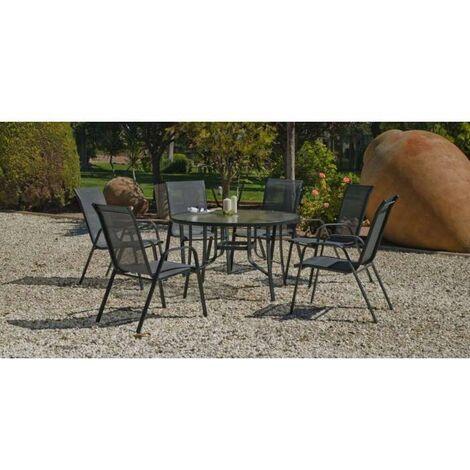 Conjunto terraza jardín mesa + 4 sillones acero Sulam-120/4 en acabado gris antracita Color gris antracita