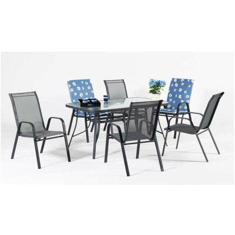 Conjunto terraza jardín mesa + 4 sillones Acero Sulam-150 en acabado gris antracita