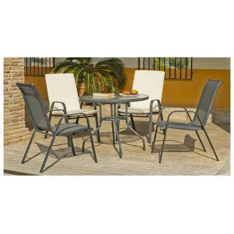 Conjunto terraza jardín mesa + 4 sillones acero Sulam-90 en acabado gris antracita