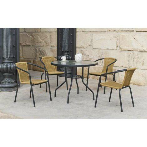 Conjunto terraza jardín mesa + 4 sillones Acero Valencia-90 en acabado antracita