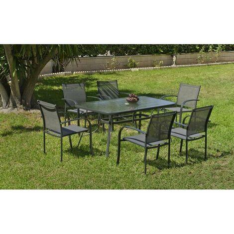 Conjunto terraza jardín mesa + 4 sillones Europa-150 en color gris