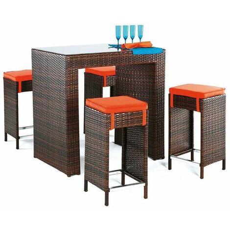 Conjunto terraza jardín mesa + 4 taburetes altos Delfin-7 en acabado marrón