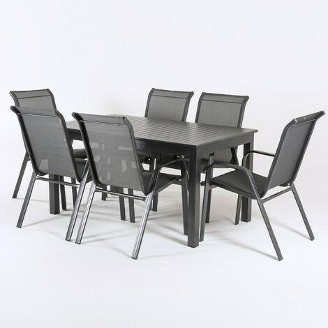 Conjunto terraza mesa extensible y seis sillones apilables - Portes Gratis - Negro