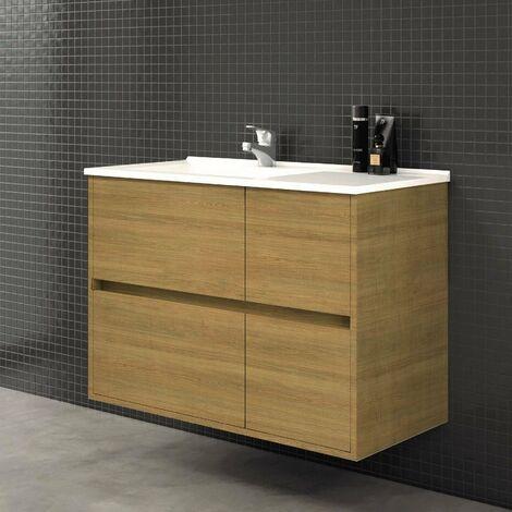Conjunto TUELA, Mueble de lavabo 80cm y espejo
