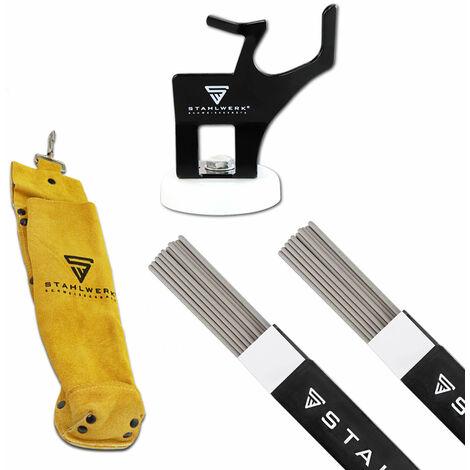 Conjunto: varillas para soldar STAHLWERK E6013RR + soporte para portaelectrodos accesorio ARC para máquinas de soldar electrodos, MMA, inversor
