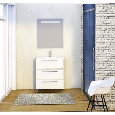 Conjunto Yoga de mueble de baño con espejo y lavamanos cerámico, de tres cajones, color blanco, 70 x 39 x 83cm
