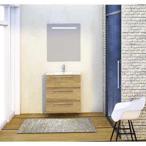 Conjunto Yoga de mueble de baño con espejo y lavamanos cerámico, de tres cajones, color nature, 70 x 39 x 83cm
