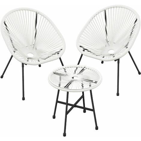 """main image of """"Conjuntodemuebles de jardín,SillaAcapulco para exteriores,Mesa con tapa de cristal y 2 sillas,para terraza,jardín,exteriores,BlancoGGF013W01 - Blanco"""""""