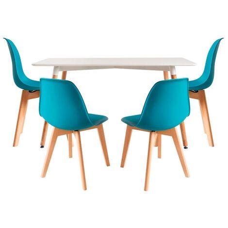 Conjuntos - Conjunto Mesa Tower Rectangular 120 x 80 cm Blanca y Pack 4 Sillas Kelen - Verde azulado
