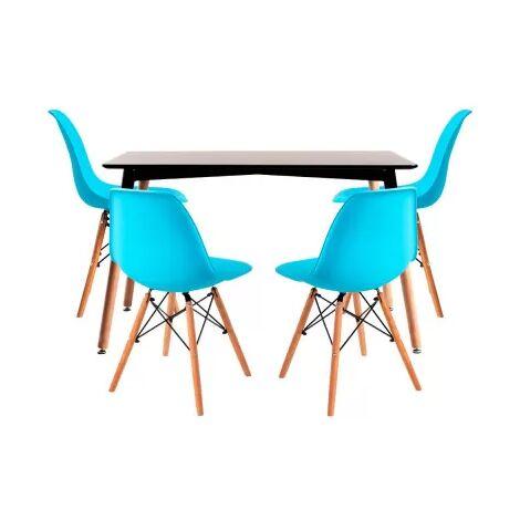 Conjuntos - Conjunto Mesa Tower Rectangular 120 x 80 cm Negra y Pack 4 Sillas Tower Pro - Azul celeste