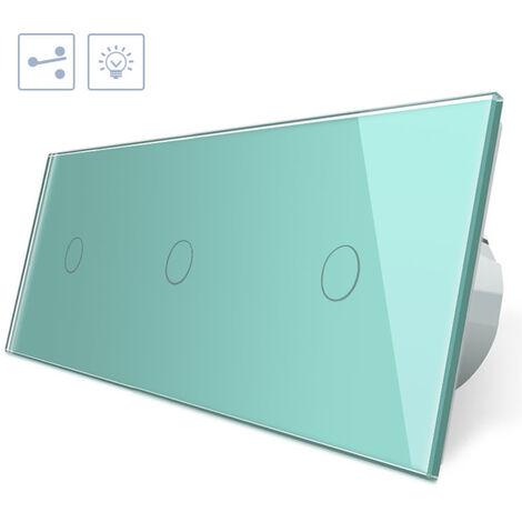 Conmutador 3 módulos táctil, 3 botones, frontal verde