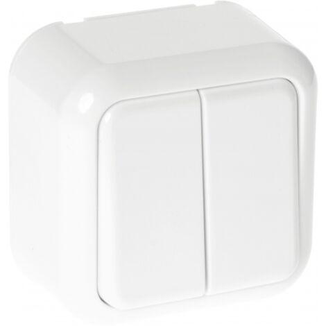 Conmutador Doble Ancient 2 Teclas Blanco 6x6x4