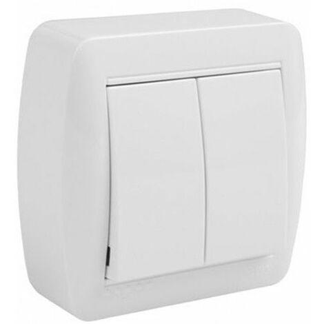 Conmutador doble de superficie monobloc blanco Solera Mural MUR12U