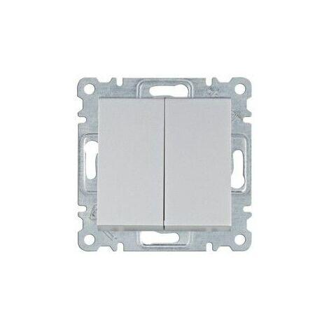 Conmutador doble Hager Lumina Intense WL0052 color Plata