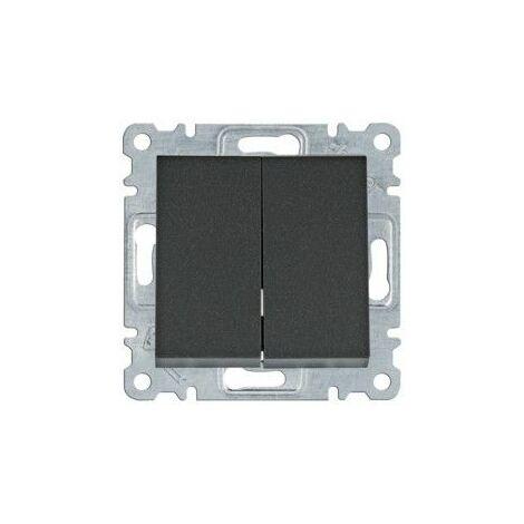 Conmutador doble Hager Lumina Intense WL0053 color Negro