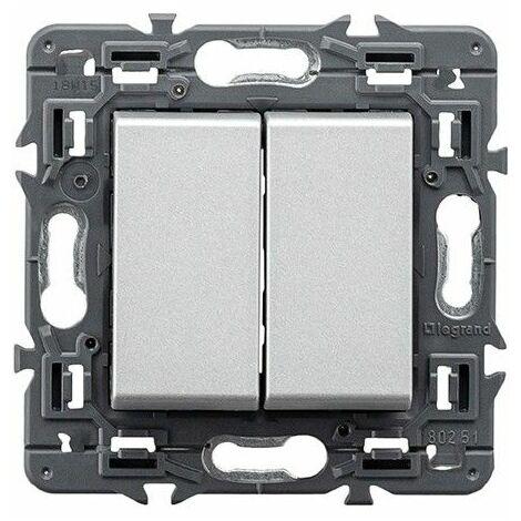 Conmutador doble Legrand 741345 serie Valena Next color aluminio