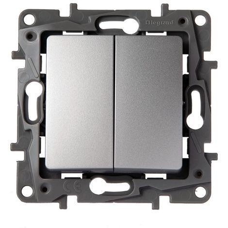 Conmutador doble Legrand NILOE 665302 Aluminio
