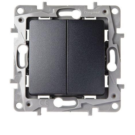 Conmutador doble Legrand NILOE 665402 Antracita