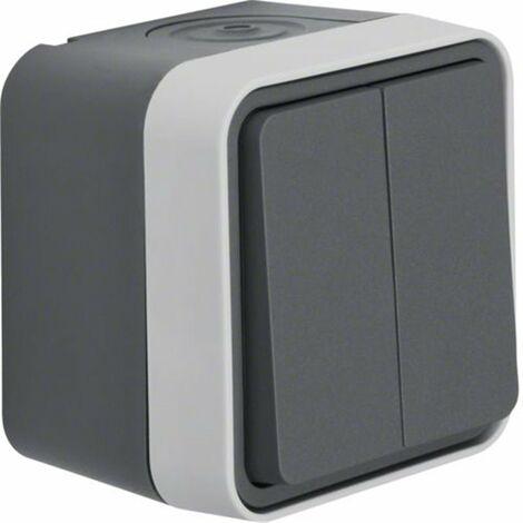 Conmutador doble Monobloc de superficie estanco HAGER Cubyko WNC040 IP55