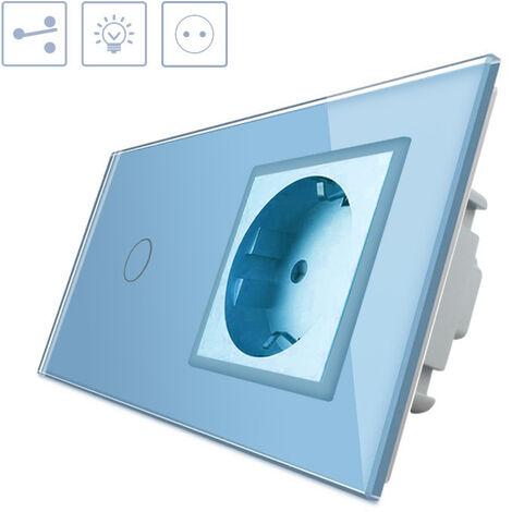 Conmutador táctil, 1 boton + 1 enchufe, frontal azul