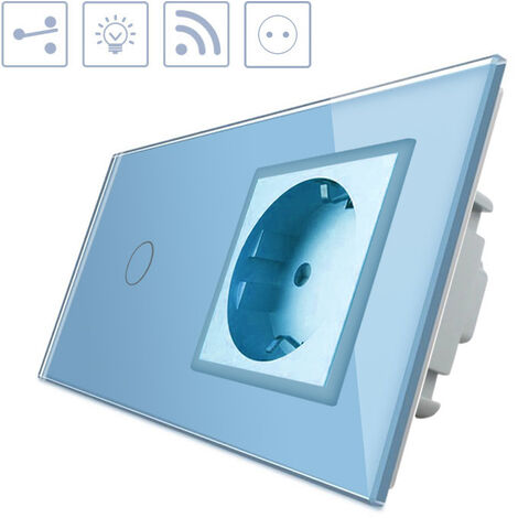 Conmutador táctil, 1 boton + 1 enchufe, frontal azul + remoto