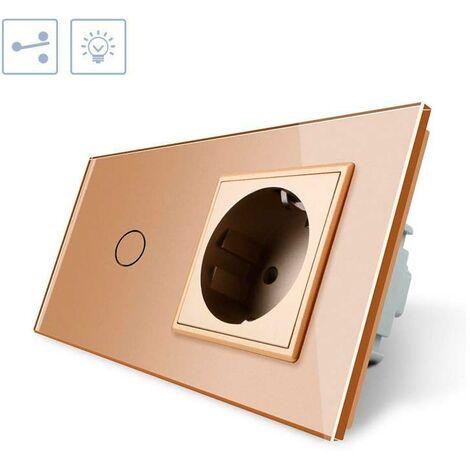 Conmutador táctil, 1 boton + 1 enchufe, frontal golden
