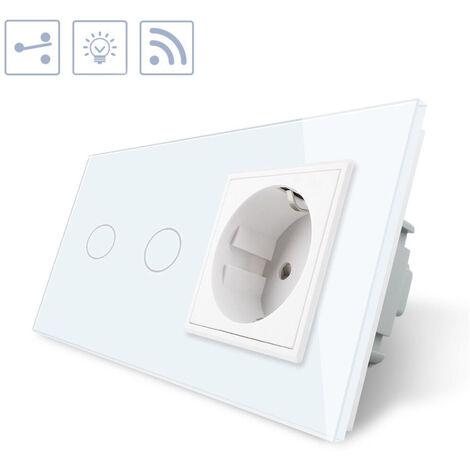 Conmutador táctil, 2 botones + 1 enchufe, frontal blanco + remoto