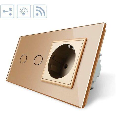 Conmutador táctil, 2 botones + 1 enchufe, frontal golden + remoto