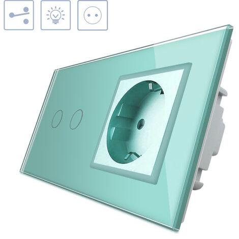 Conmutador táctil, 2 botones + 1 enchufe, frontal verde