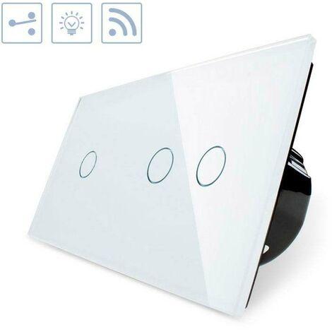Conmutador táctil + remoto, 3 botones, frontal blanco