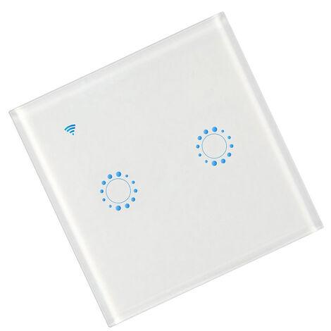 Conmutadores inalambricos, interruptor de conexion inalambrica a internet luz, 2 Gang, blancos