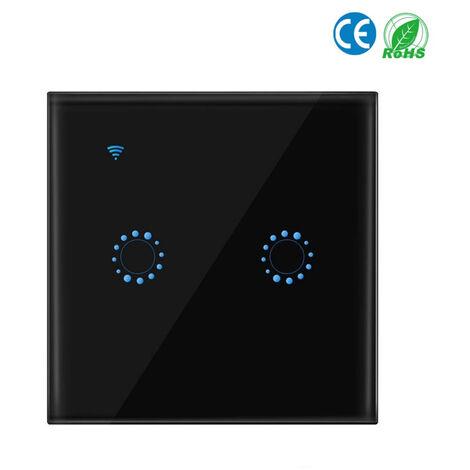 Conmutadores inalambricos, interruptor de conexion inalambrica a internet luz, 2 Gang, negro