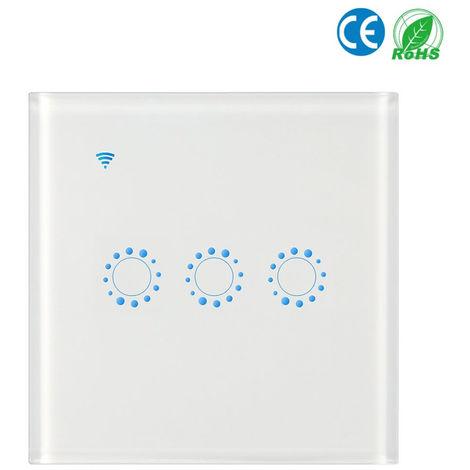 Conmutadores inalambricos, interruptor de conexion Wi-Fi Luz, 3 Gang, blancos